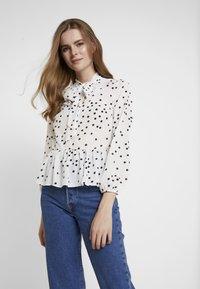 New Look - SPOT BOW PEPLUM - Blouse - white - 0