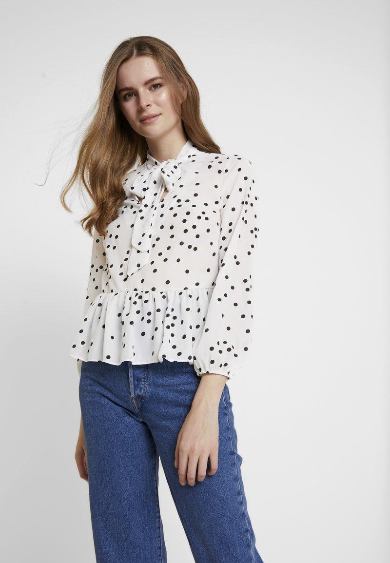 New Look - SPOT BOW PEPLUM - Blouse - white
