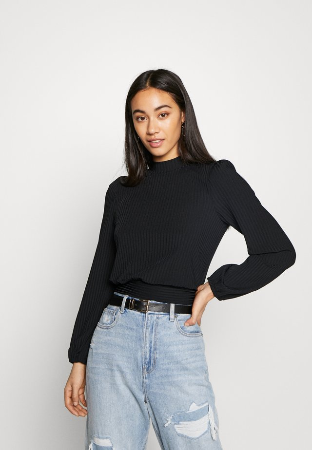 CARLEY RIB TIE TOP - Bluse - black