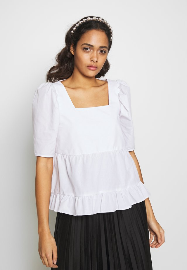SQUARE NECK TIERED SHELL - Blouse - white