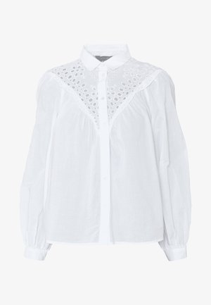MAX CUTWORK SHELL - Button-down blouse - white