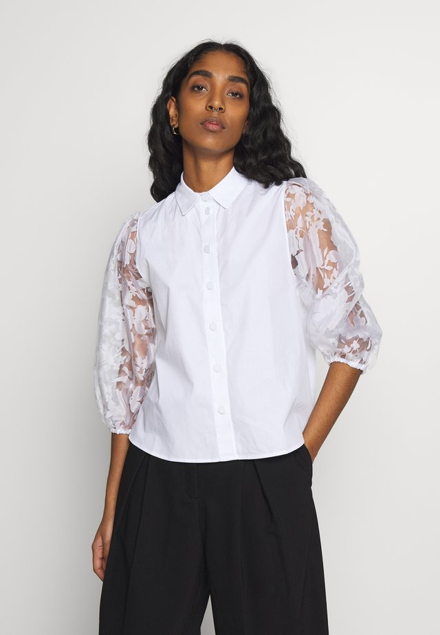BOBBY SLEEVE POPLIN - Button-down blouse - white