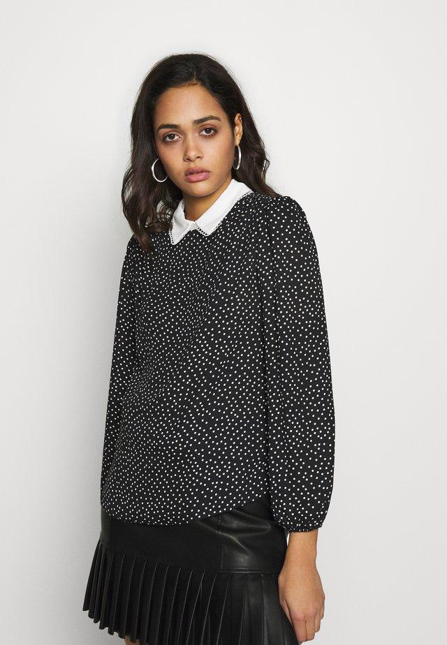 SALLY SPOT COLLAR SHELL - Bluzka - black pattern