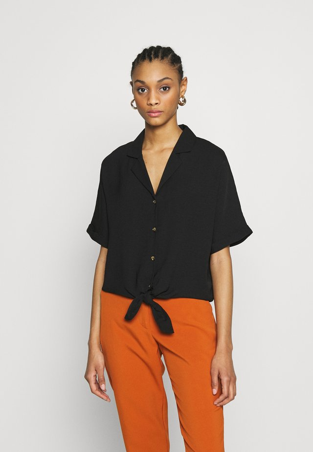 TRINNY TIE FRONT SHELL - Button-down blouse - black