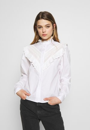 CHEVRON FRILL PINSTUCK - Button-down blouse - white