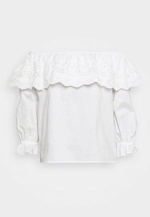 BELLE BARDOT CUTWORK POPLIN - Pusero - white