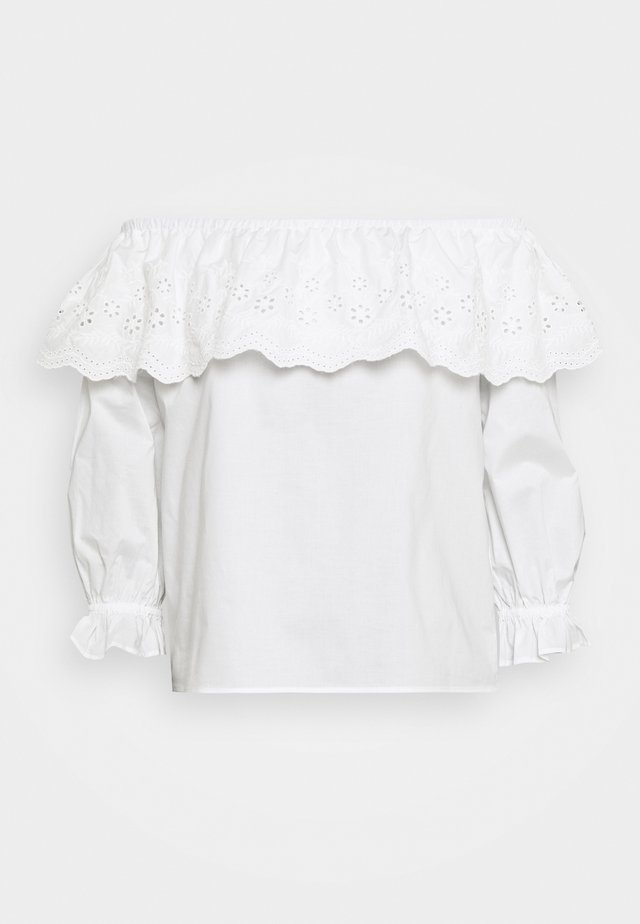 BELLE BARDOT CUTWORK POPLIN - Blouse - white