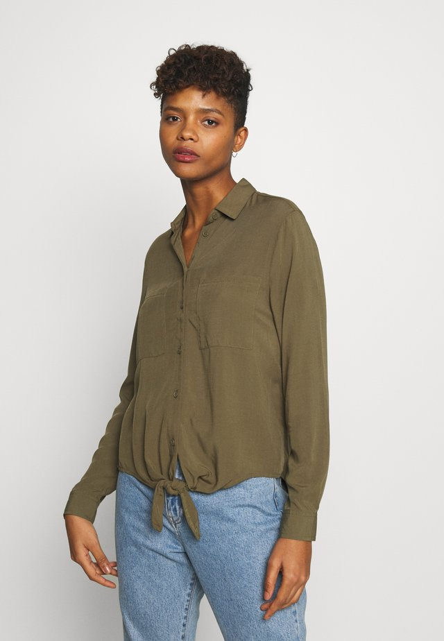 TOMMY TIE FRONT - Button-down blouse - dark khaki