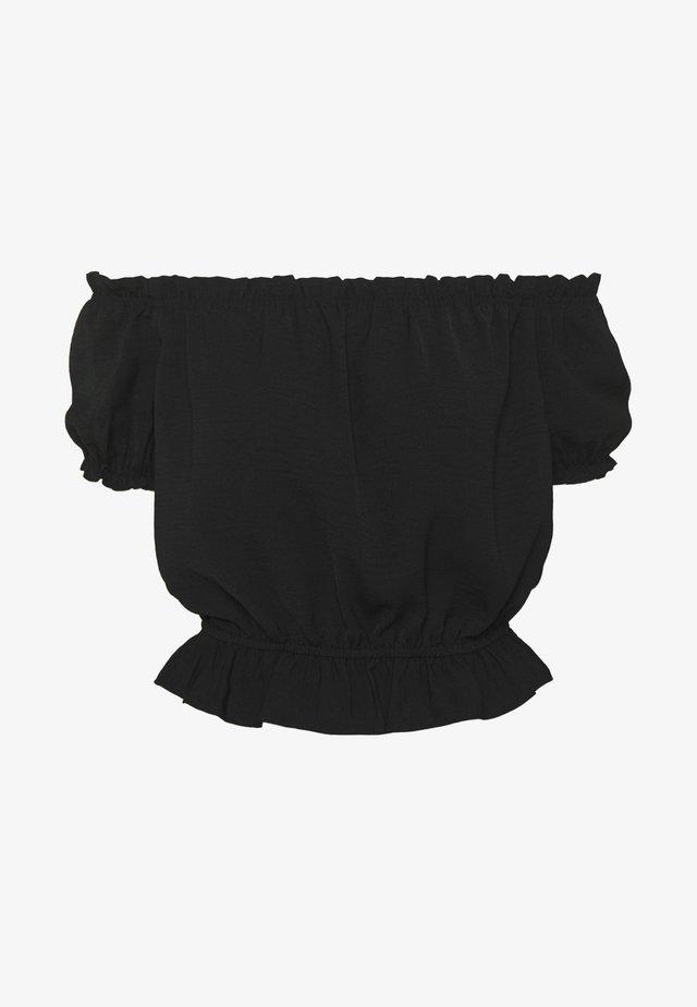 PLAIN HERRINGBONE BARDOT - Bluzka - black