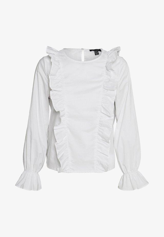 POPPY FRILL FRONT SHELL - Bluzka - white