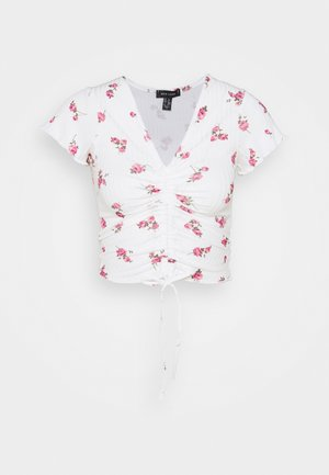 CARLY PRINT RUCH FRONT - Camiseta estampada - white