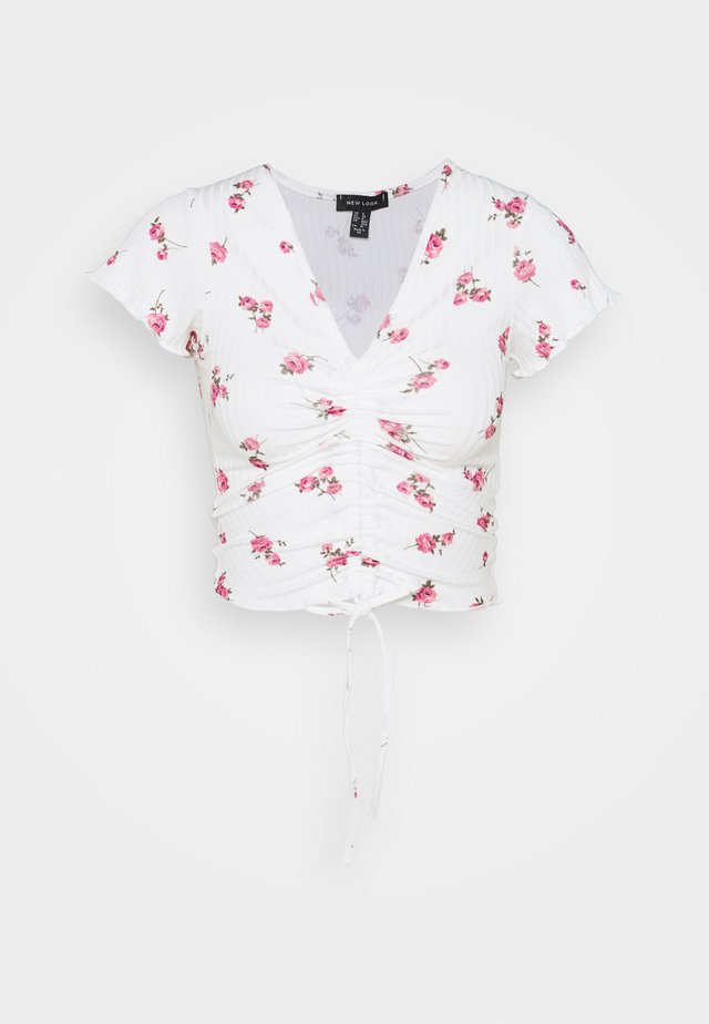 CARLY PRINT RUCH FRONT - Print T-shirt - white