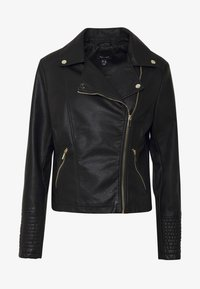 New Look - VERBENA QUILTED BIKER - Keinonahkatakki - black - 4