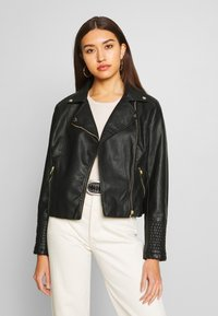New Look - VERBENA QUILTED BIKER - Keinonahkatakki - black - 0