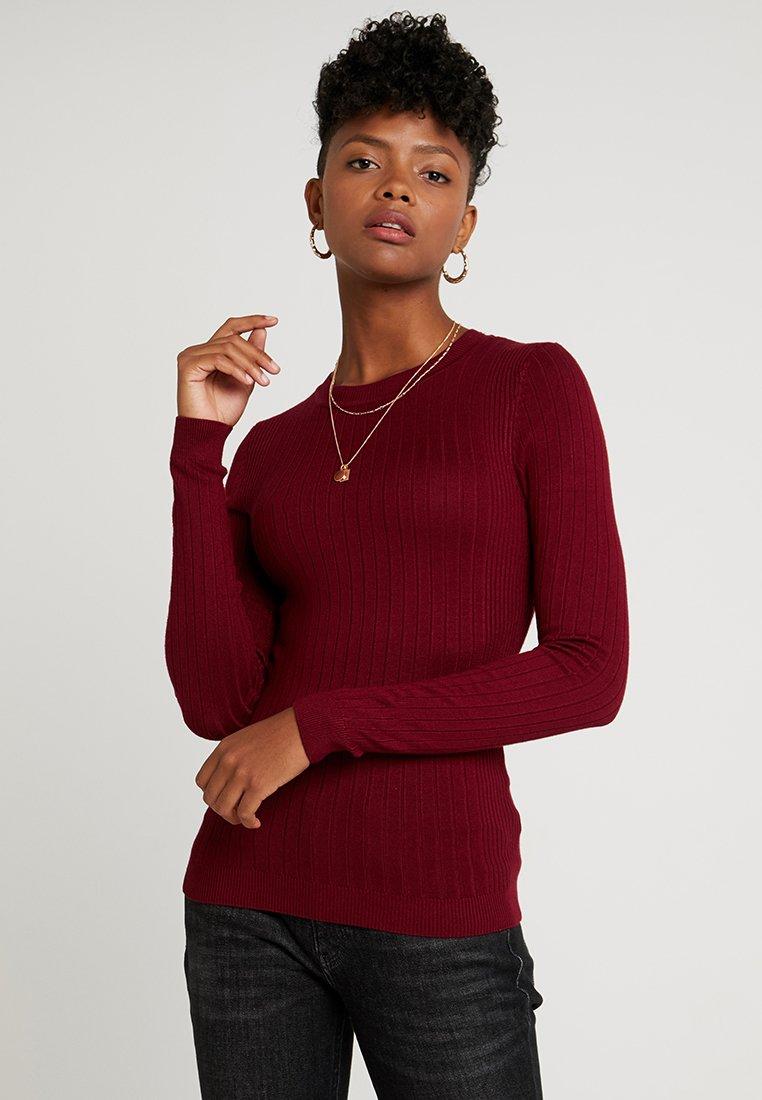 New Look - FINE GAUGE CREW - Strickpullover - burgundy