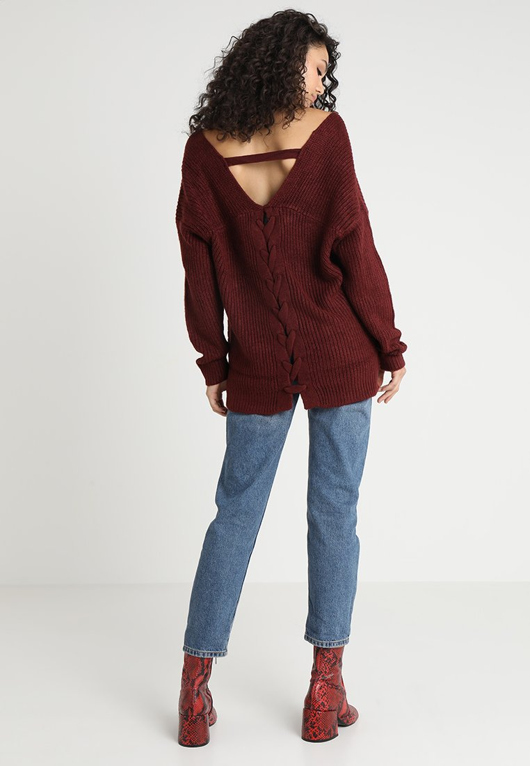New Look - V NECK STITCHY JUMPER - Maglione - burgundy