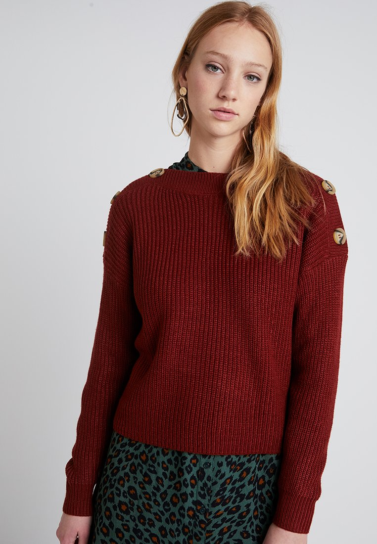 New Look - BUTTON SHOULDER JUMPER - Svetr - rust