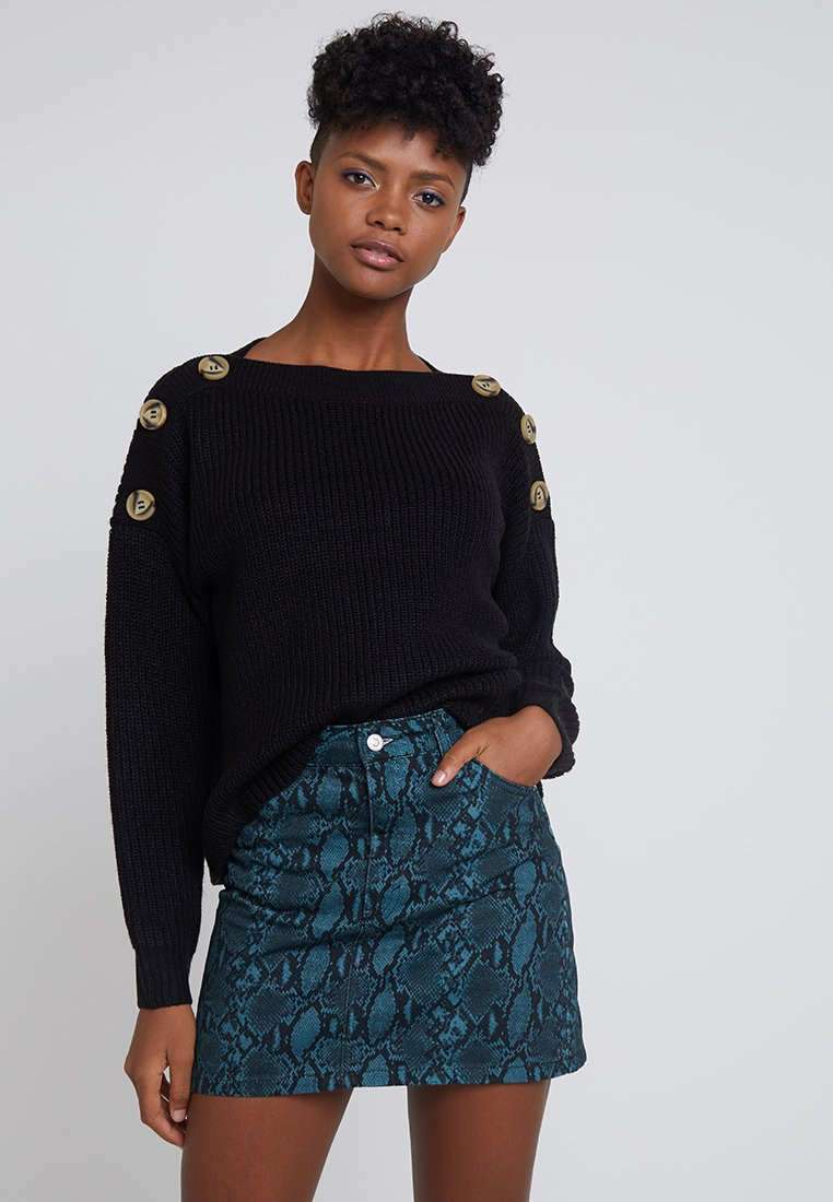 New Look - BUTTON SHOULDER JUMPER - Jumper - black