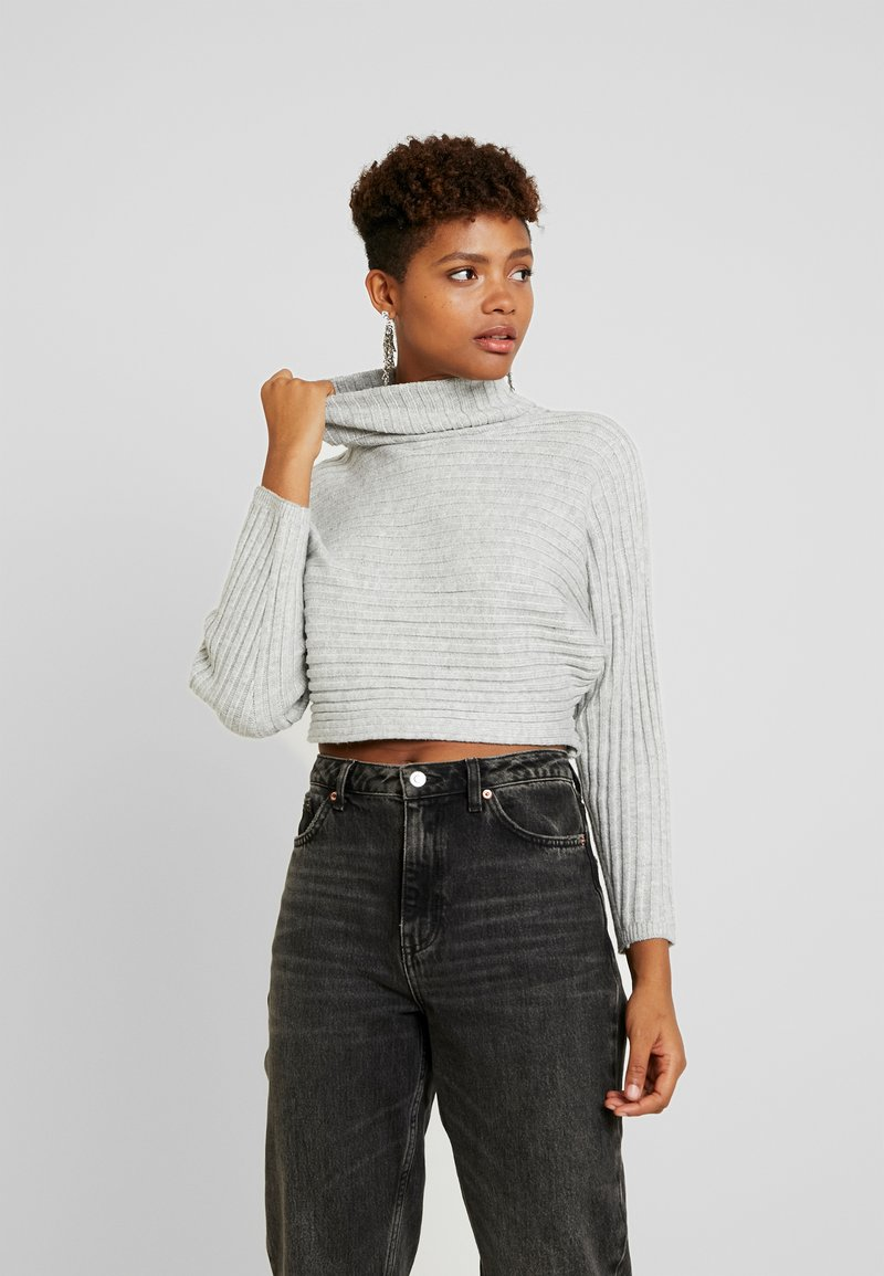 New Look - ROLL CROP - Sweter - light grey