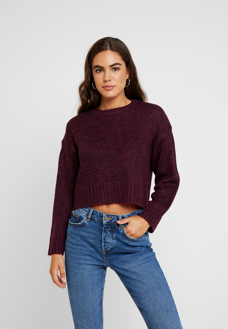 New Look - BOXY STRAIGHT SLEEVE - Jumper - burgundy