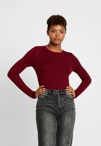 New Look - CREW - Sweter - dark burgundy - 0