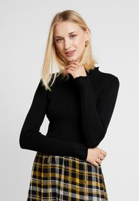New Look - LETTUCE EDGE STAND NECK - Maglione - black - 0