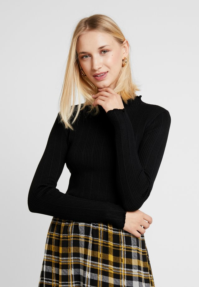 LETTUCE EDGE STAND NECK - Strickpullover - black