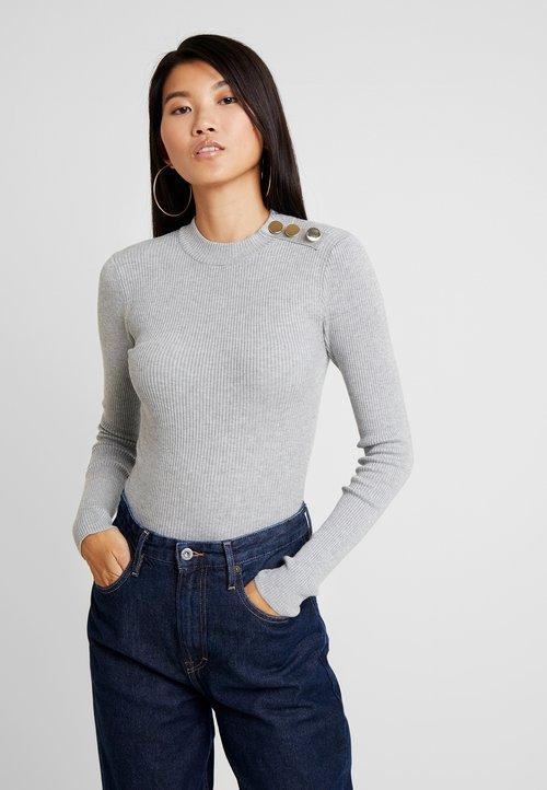 New Look STAND NECK BUTTON - Sweter - pale grey Odzież Damska DXGD-OD2 oferta