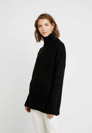 SLOUCHY ROLL - Pullover - black