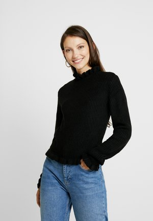 RUFFLE NECK CROP JUMPER - Stickad tröja - black
