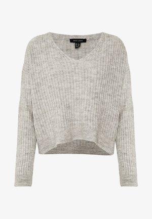 V NECK CROP JUMPER - Pullover - dark grey