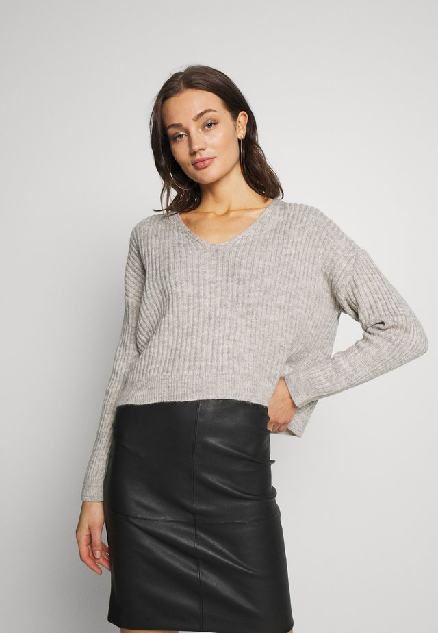 V NECK CROP JUMPER - Sweter - dark grey