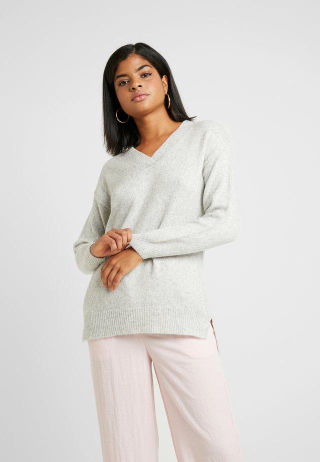 V NECK LONGLINE JUMPER - Sweter - light grey