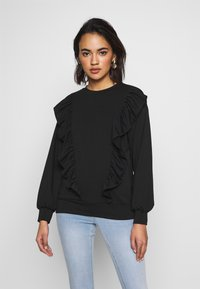 New Look - DOUBLE FRILL FRONT - Bluza - black - 0