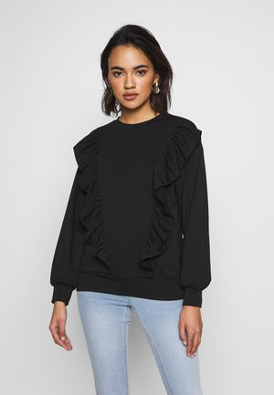 DOUBLE FRILL FRONT - Bluza - black