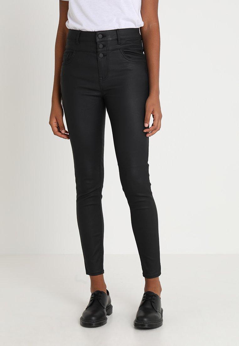New Look - HIGHWAIST COATED - Stoffhose - black