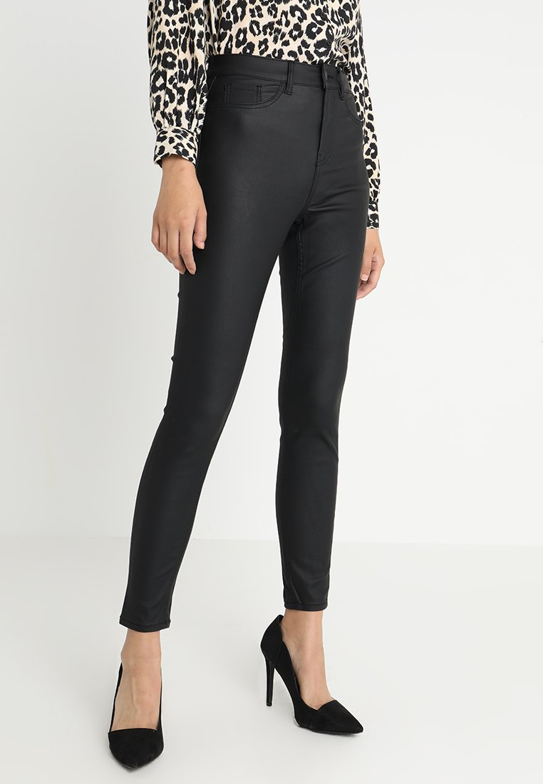 New Look - DISCO SUPERSKINNY COATED - Broek - black