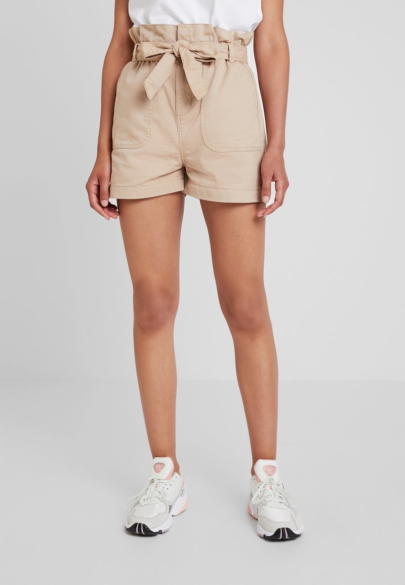 New Look - PAPERBAG UTILITY BELTED  - Jeans Short / cowboy shorts - stone
