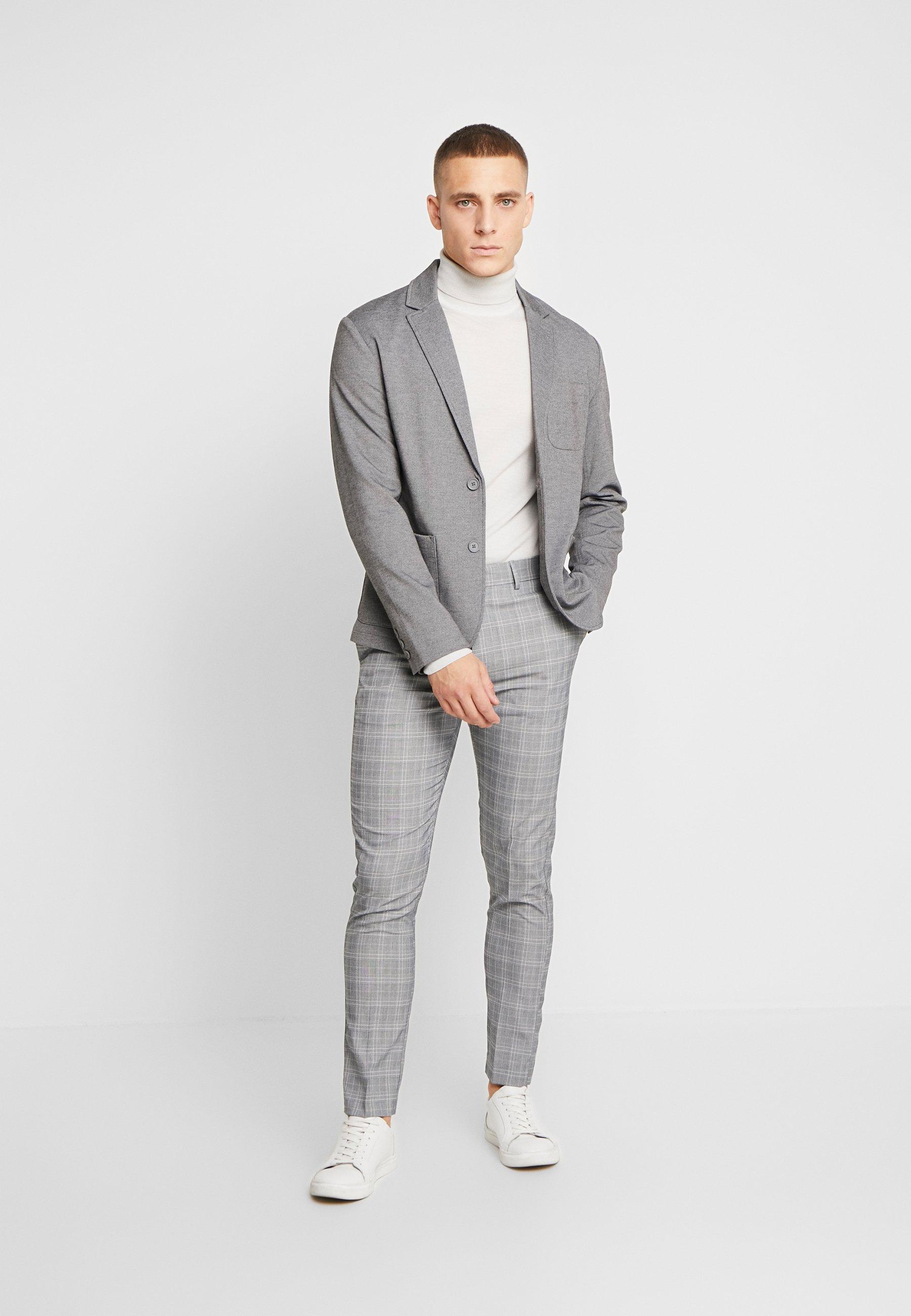 New Look Charles Checksuit - Pantalon De Costume Light Grey