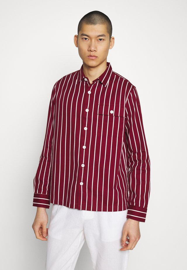 STRIPE SHACKET - Overhemd - dark burgundy