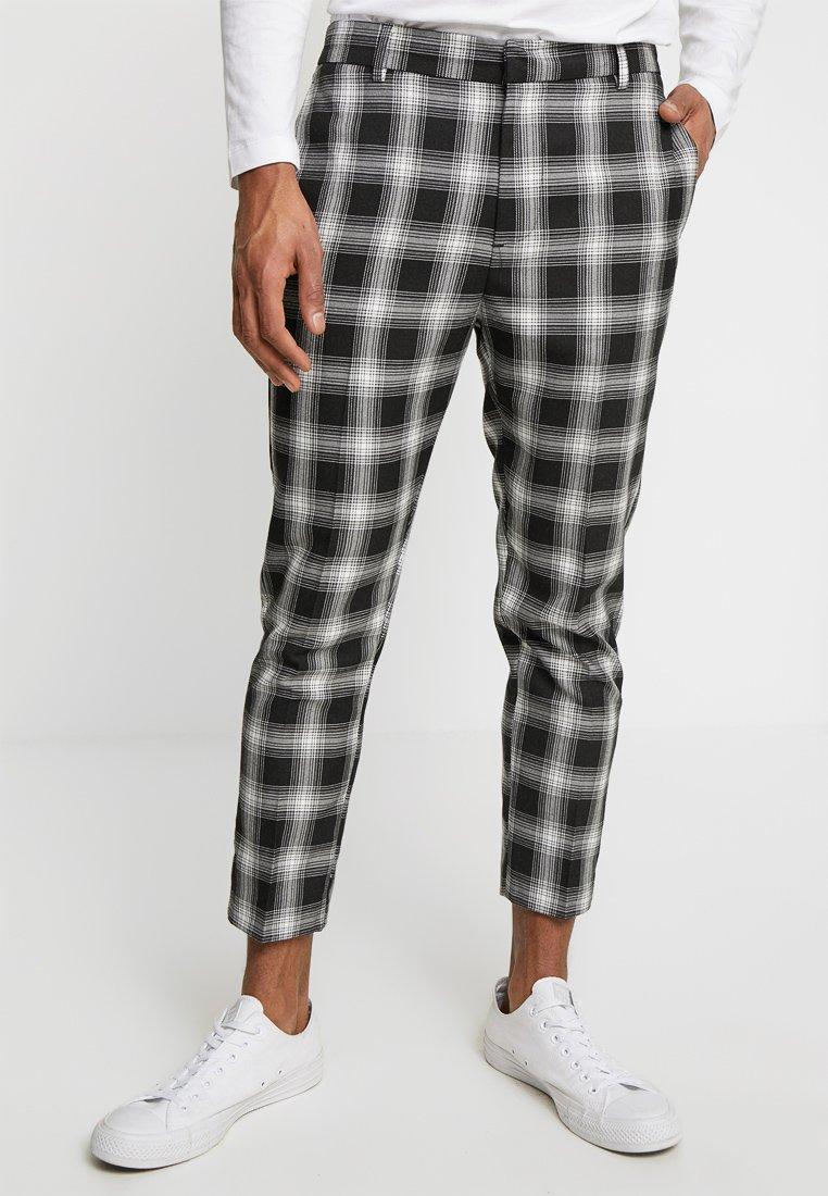 New Look - MONO CHECK HALF ELASTICATED  - Kalhoty - black pattern