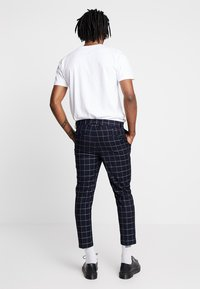 New Look - GRID CHECK CROP - Broek - navy - 2