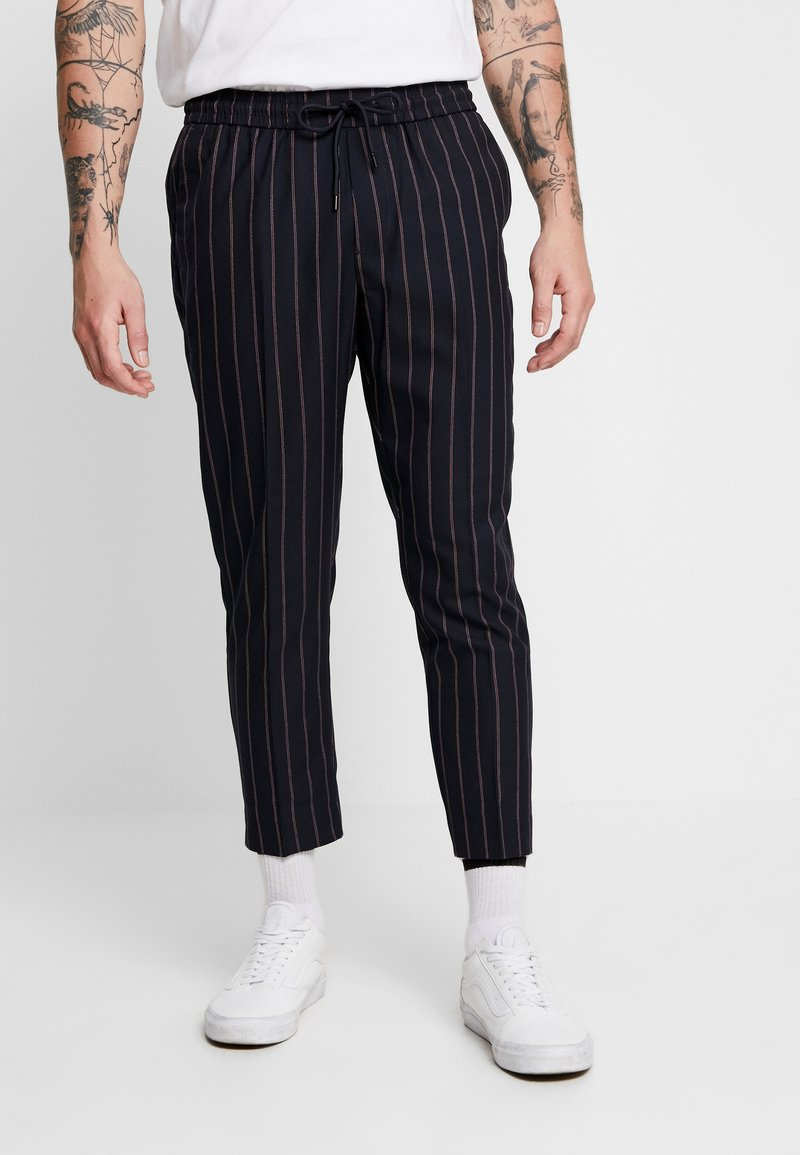 New Look - HIGHLIGHT STRIPE PULL ON - Stoffhose - navy