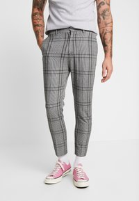 New Look - LARGE SCALE CHECK SKINNY TROUSER - Trousers - mid grey - 0