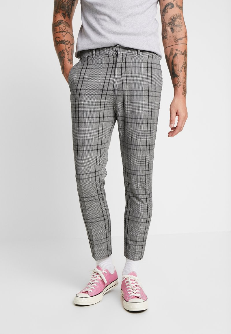 New Look - LARGE SCALE CHECK SKINNY TROUSER - Stoffhose - mid grey