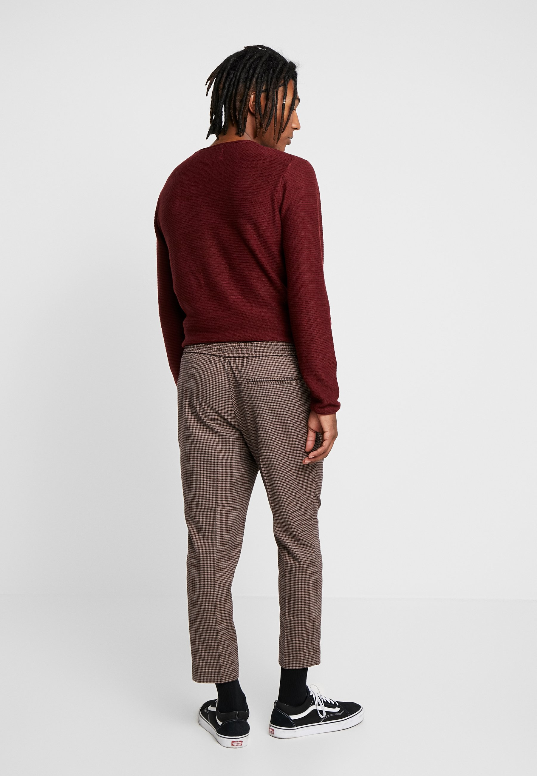 Look Brown Small Check Aso New Slim Classique CropPantalon bf6yvY7g
