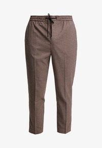 New Look - ASO SMALL CHECK SLIM CROP - Trousers - brown - 4