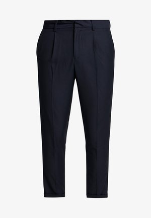 PLEATED CROP - Trousers - navy
