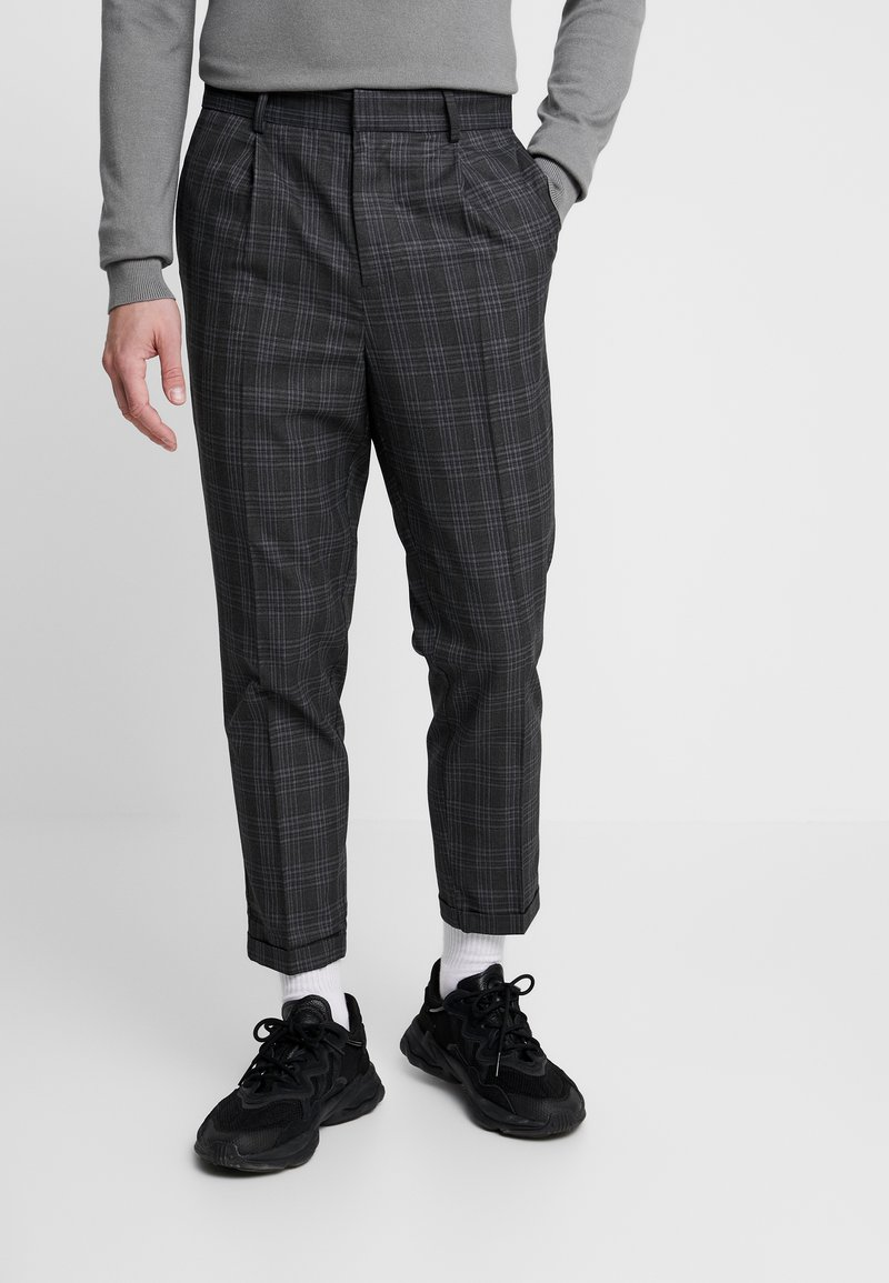 New Look - GEORGE HIGHLIGHT CHECK - Trousers - dark grey