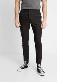 New Look - PASO HARRY GINGER HIGHLIGHT CHECK  - Suit trousers - dark brown - 0
